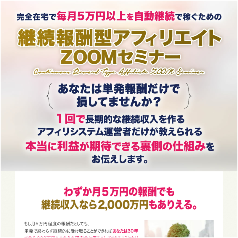 継続報酬型アフィリエイトZOOMセミナー【通常】
